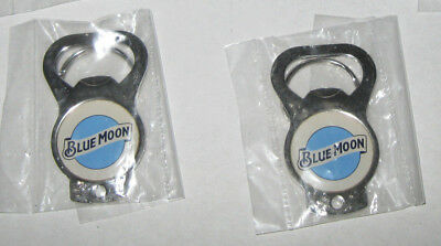 Lot of 5 Blue Moon Beer White Metal Bottle /& Can Opener Key Chains New