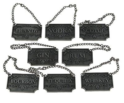 Gorgeous Liquor Decanter Tags Labels Set of 8 PEWTER Adjustable Chain Rustic SLV