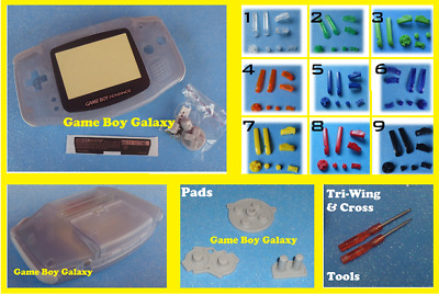 CLEAR GLACIER Nintendo Game Boy Advance SHELL PICK COLOR BUTTONS pads tools gba