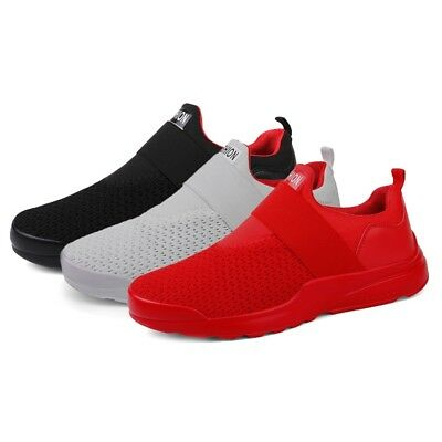 Men Athletic Sneakers Breathable Mesh Trainers Slip On Flats Running Sport Shoes