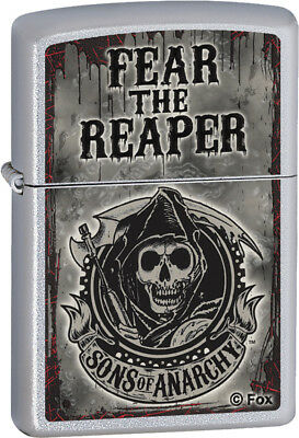 Zippo 28502 Fear The Reaper Design on Satin Chrome Finish Classic Lighter