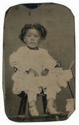 Adorable Young African American Black Girl In A Vintage High Chair Tintype