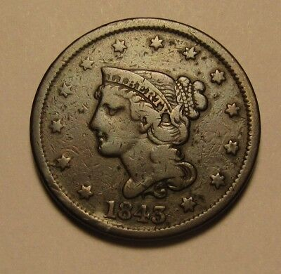1843 Braided Hair Large Cent Penny - Very Fine + Condition - 189SA
