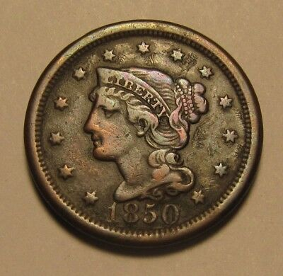 1850 Braided Hair Large Cent Penny - Extra Fine Condition - 195SA