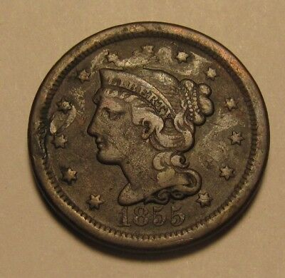 1855 Braided Hair Large Cent Penny - VF to Extra Fine Condition - 200SA