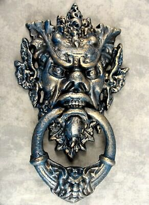 Large Gothic Medieval Green Man Horned Devil Cast Iron Door Knocker