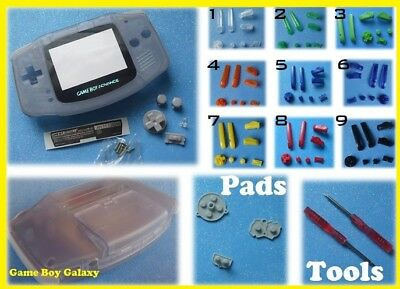 GBA SHELL & GLASS SCREEN Glacier Nintendo Game Boy Advance ~ Pick Color Buttons