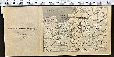 """WWI Vellum MAP World War 1 """"Operations in East Prussia in 1914"""" WW1 Antique Rare"""