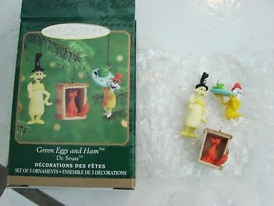 2000 Hallmark Miniature GREEN EGGS AND HAM  DR. SEUSS 3 Ornaments Set