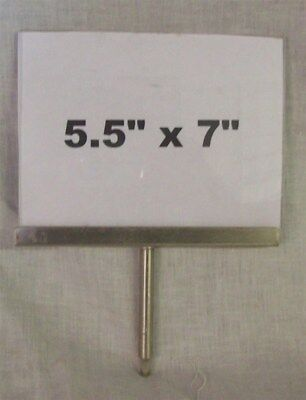 """Store Display Fixtures 5 ACRYLIC 5½""""Hx7""""W SIGN HOLDERS WITH CHROME 3"""" STEM"""