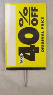 """Store Display Fixtures ACRYLIC 11"""" Tall x 7"""" W SIGN HOLDERS WITH CHROME 3"""" STEM"""