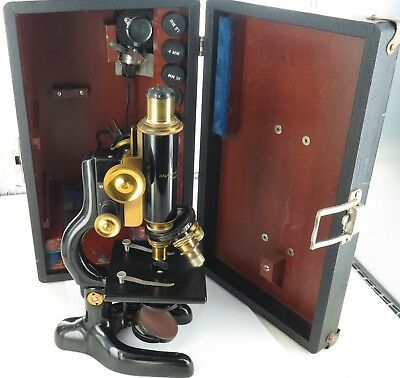 .c1915 BAUSCH & LOMB OPTICAL Co, USA MONOCULAR MICROSCOPE + CASE, LIGHT ETC.