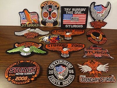 Lot of 14 Vintage Dated Sturgis Rally Sew-On or Iron-On Patches Free Shipping