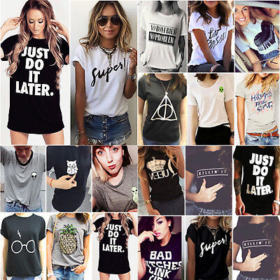 Summer Womens Loose T Shirt Short Sleeve Blouse Ladies Casual Tops Tee Plus Size
