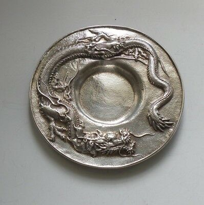 Japanese Sterling Silver Dragon Tray, Meiji Period, Signed