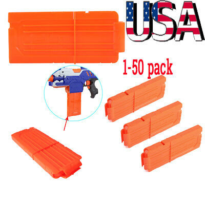 50pcs 12 Reload Clip Magazine Bullets Darts Replacement for Nerf Kids Toy Gun US
