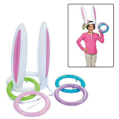 Inflatable Easter Bunny Rabbit Ears Hat & Ring Toss Easter Kids Game Toy Gift UK
