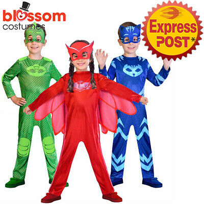 K495 PJ Masks Costume Boys Girl Kids Superhero Cape Mask Cosplay Party Book Week