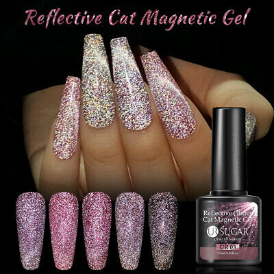 7.5ml Soak Off UV Gel Polish Magnetic Nude Holographic Nail Art Varnish UR SUGAR