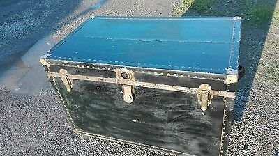 antique steam trunk made in USA Corbin Lock, Herian & Merling.