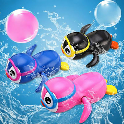 Clockwork Swimming Wind Up Mini Funning Black Penguin Bath Baby Kids Toys Gifts