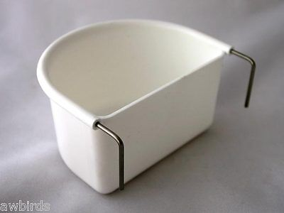 2 x GIANT / LARGE WHITE D CUP FEEDER / DRINKER - TWO WIRE HOOK