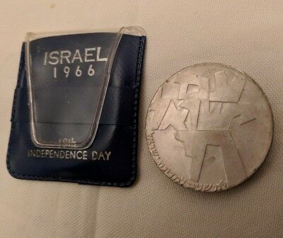 1966 Israel 5 Lirot .900 silver coin, 34 mm, 25 g, Am Israel Chai, 18th Birthday