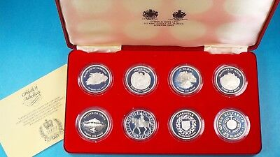 1977 Silver Jubilee 925 Sterling Silver Proof 8 Crown Collection Cased & Cert