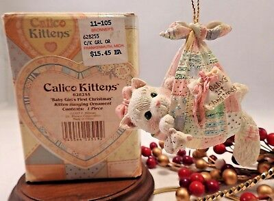 Enesco Calico Kittens Ornament Cat  1993 Baby Girl's First 1ST Christmas 628255