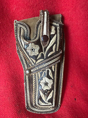 """Vintage Mexican Embroidered Leather Holster Fits Colt SA w 5 1/2"""" Barrel"""