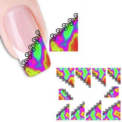 a26 french nail art nagel sticker aufkleber bunt rot gelb muster wellen tattoo - French Nagel Muster