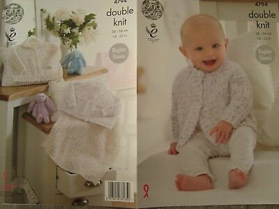 King Cole 4794 Baby's Cardigans & Blanket DK Knitting Pattern Sizes 14-22""