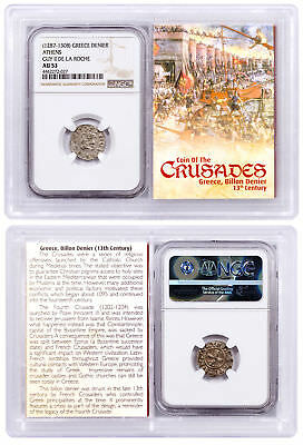 1250-1310 Greece, Billon Denier - Coin of Crusades NGC AU53 Story Vault SKU51726