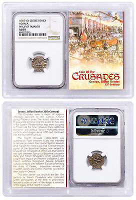 1250-1310 Greece, Billon Denier - Coin of Crusades NGC AU55 Story Vault SKU51853