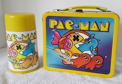 Vintage Pac-Man Lunch Box With Aladdin Thermos Mug Bally Midway 1980