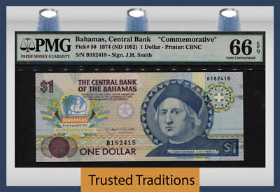 "Tt Pk 50 1974 Bahamas $1 ""commemorative"" Christopher Columbus Pmg 66 Epq Gem Unc"
