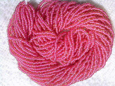 Vtg 1 HANK SILVER LINED RED GLASS BEADS 11//0  #121015t