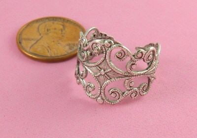Vintage Design Antique Silver Plated Brass Filigree Adj Ring - 1 Pc