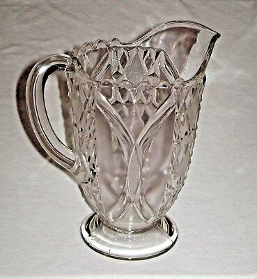 Antique Victorian Era EAPG Water Pitcher Diamonds & File