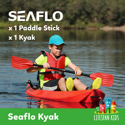 """NEW SEAFLO Kayak + Dual Sided Paddle for Kids 1.8m / 5'11"""" Red Single HDPE"""
