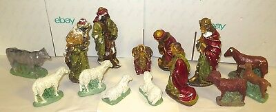 .LATE 1800s / EARLY 1900s RARE LARGE RUSSIAN 14 PIECE PLASTER NATIVITY SCENE.