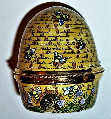 Staffordshire Enamels Box - Domed Yellow Bee Hive - Bees & Flowers