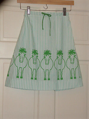 Wee Gentress Vintage Horse Pony Heads Tails Skirt - Size 8 - Green Stripe - Euc!