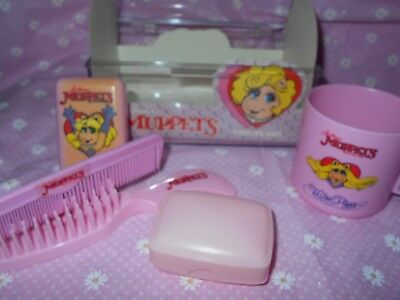 Vintage Muppets Miss Piggy Travel Set Cup Brush - 1988