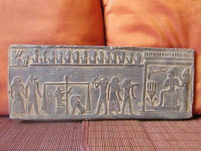Unique Antique Hand Carved Antique Egyptian Wall Plaque of Ancient JUDGMENT DAY