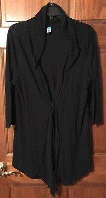 Old Navy Maternity Cardigan, Lightweight, Tie Front Black, Size X-Large