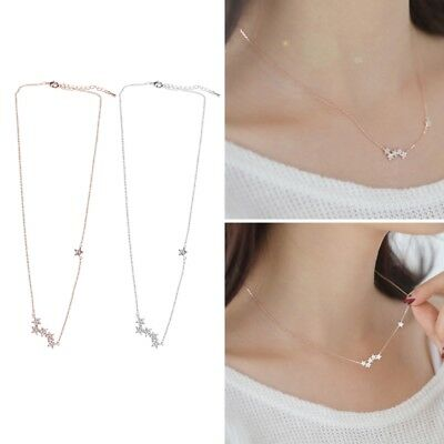 Silvery Rose Gold Crescent Moon and Star Jewelry CZ Pendant Necklace Women