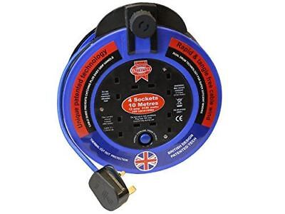 Faithfull Power Plus FPPCR1013PRO 10 m Fast Rewind Four Socket Blue Cable Reel