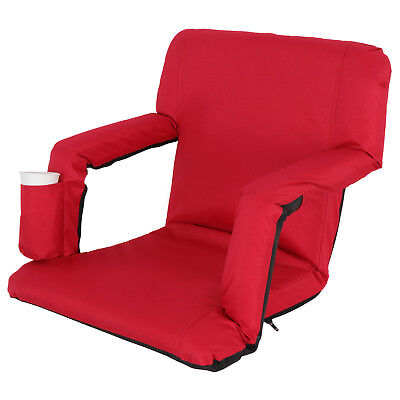 Portable Stadium Seat Chair, Reclining Bleacher Seat Red w/ 5 Assorted Positions