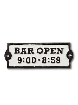 "Black Metal Cast Iron Wall Sign Bar Open Black White 5.5"" Width"